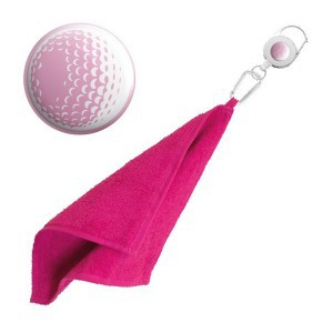 Retractable golfhanddoek - roze golfbal