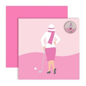 Ball Marker Wenskaart - Pink Classic Lady